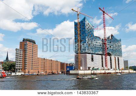 Hamburg Germany-June 26 2011:Construction of the Concert Hall Elbphilharmonie in the Hafencity Hamburg