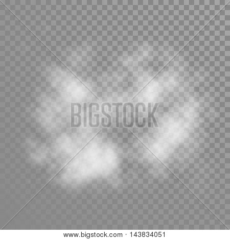 Cumulus cloud on transparent background. Vector white fog diffudion effect