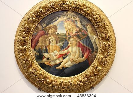 FLORENCE, ITALY - January 20, 2016: Madonna of the Magnificat, painting Sandro Botticelli, on display at the Uffizi Gallery (Galleria degli Uffizi), Florence, Italy