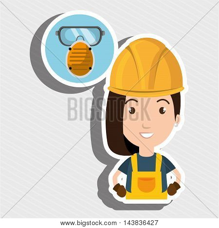 woman worker mask smog vector illustration design eps 10