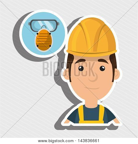 man worker mask smog vector illustration design eps 10
