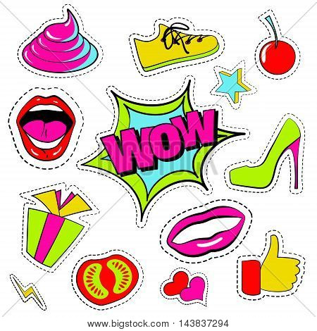 Vector set of quirky cartoon patch badge, sticker, fashion pins. Hand drawn set with open mouth, high-heel shoes, cherry, heart, stars, thumb finger, sneakers, shit, wow phrases. Design Illustration