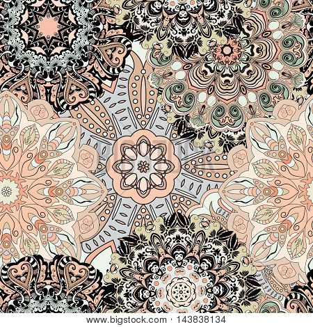 Vector seamless pattern with flowery mandalas print made in oriental style. Vintage designed background.