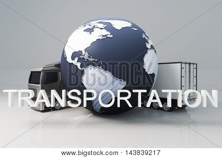 Truck with trailer and abstract terrestrial globe on light background. Transportation concept. 3D Rendering