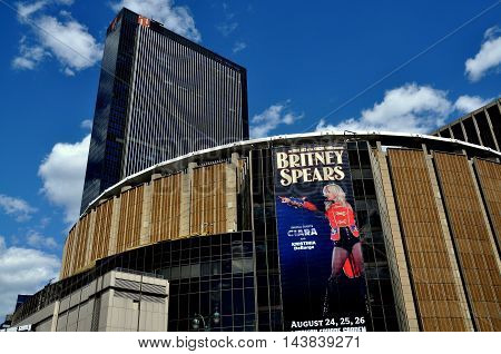 New York City - August 6 2009: Madison Square Garden with its huge poster for an upcoming Britney Spears concert