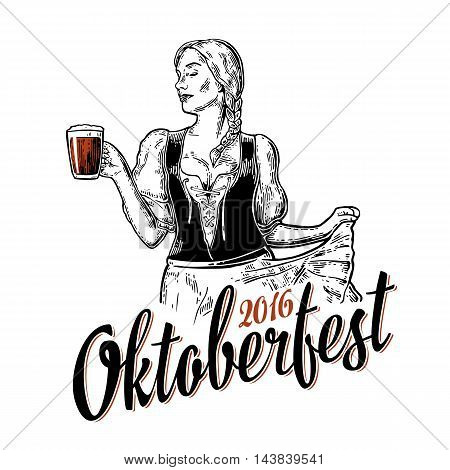 Poster to oktoberfest festival. Young sexy woman wearing a traditional Bavarian dress dirndl dancing and holding beer mug. Vintage vector engraving illustration isolated on white background.