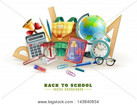 Back to school background poster for with office stationary supply items alarm clock and classroom accessories vector illustration