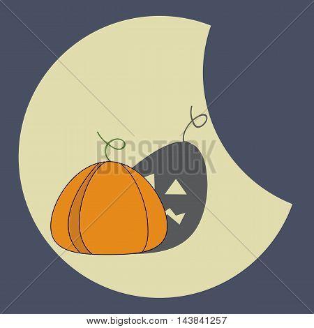 Halloween Orange pumpkin with a grim shadow