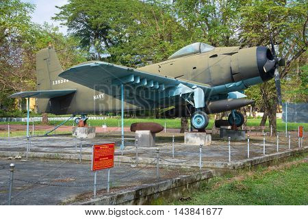 HUE, VIETNAM - JAN 08, 2016: Airplane AD-6 (Douglas A-1 Skyraider). Historical landmark of the city Hue, Vietnam