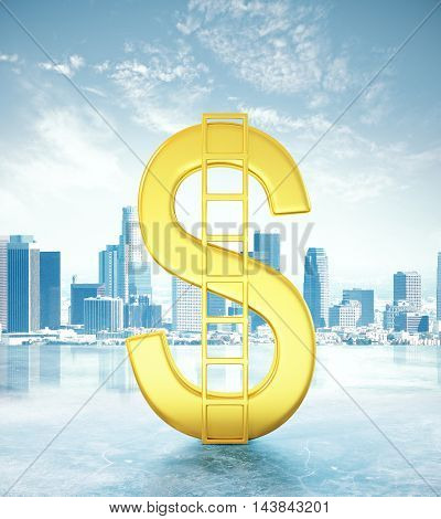 Financial growth concept with abstract golden dollar sign and ladder on city background. 3D Rendering