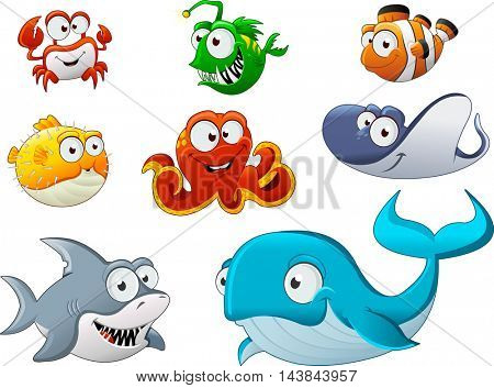Group of cartoon underwater animal. Cartoon fish under the sea.