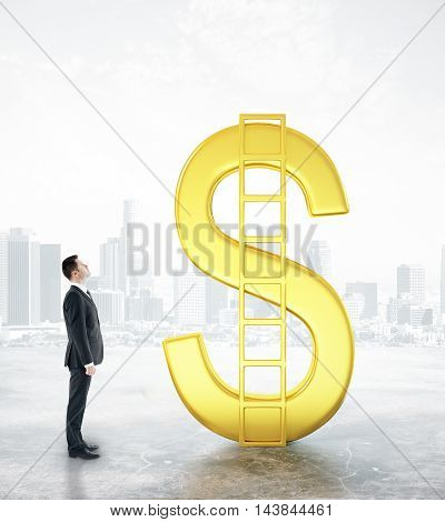 Financial growth concept with businessman looking at abstract golden dollar sign with ladder on foggy city background. 3D Rendering