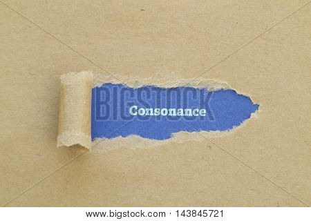 Consonance word written under torn paper .