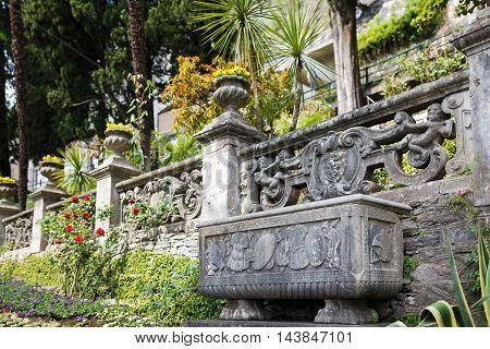 Varenna Italy - May 06 2016: The garden of the Villa Monastero spring time