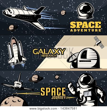 Space horizontal banners set with scientific equipment for galaxy research cosmic shuttles for journeys isolated vector illustration