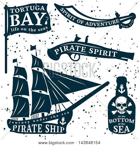 Pirates quote set with Tortuga bay spirit of adventure at the bottom of the sea descriptions vector illustration