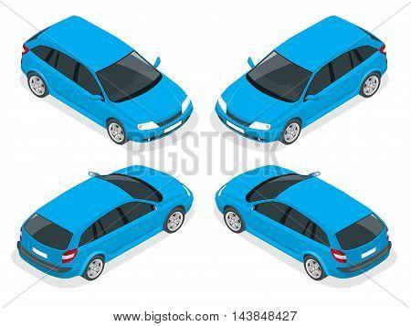 Isometric car. Hatchback car. Flat 3d isometric high quality city transport icon set.