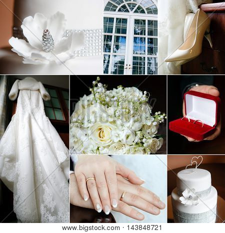 Wedding collage in white color theme, celebrations