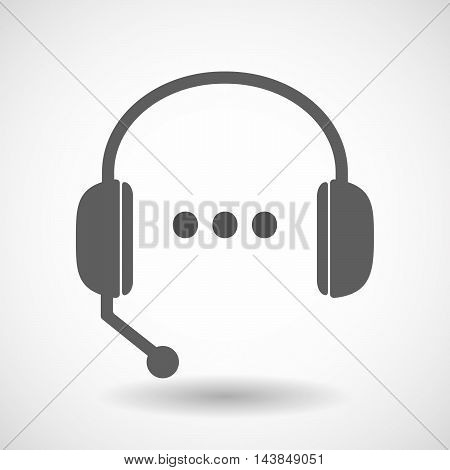 Isolated  Hands Free Headset Icon With  An Ellipsis Orthographic Sign