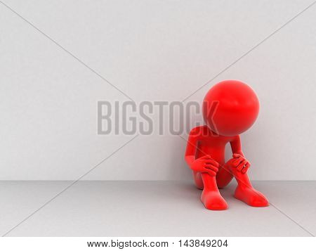 3D Illustration. 3d Man - sorrow. Image with clipping path