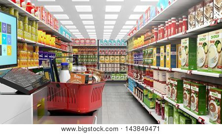 3D rendering of supermarket with big choice of products on shelves.Shopping basket at checkout.
