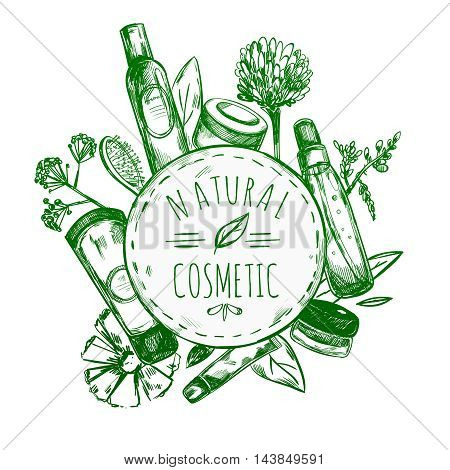 Green hand drawn natural cosmetics label with cosmetics bottles around circle and title natural cosmetic vector illustration