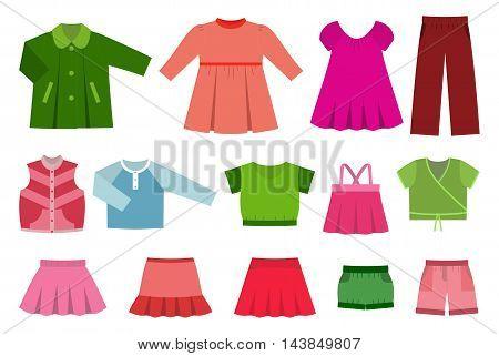 Set of children's clothes for girls. Vector illustration.