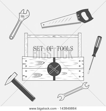 toolset set of tool wood box - vector illustration