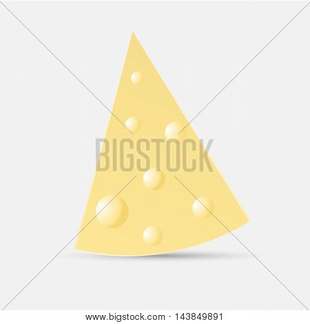 a piece of cheese on an isolated white background - vector illustraion