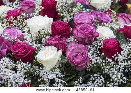 Festive Bouquet in pink and red with baby's breath