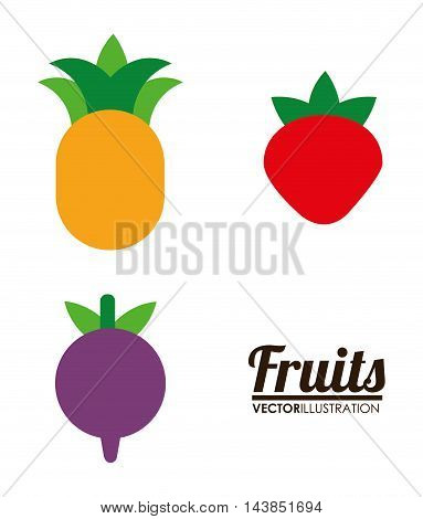 pineaple strawberry fruit healthy organic food icon. Colorful and flat design. Vector illustration