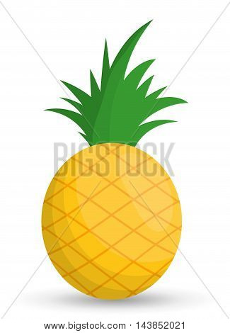 pineaple fruit healthy organic food icon. Colorful and flat design. Vector illustration