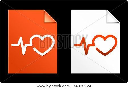 Heart Pulse on Paper Set Original Vector Illustration