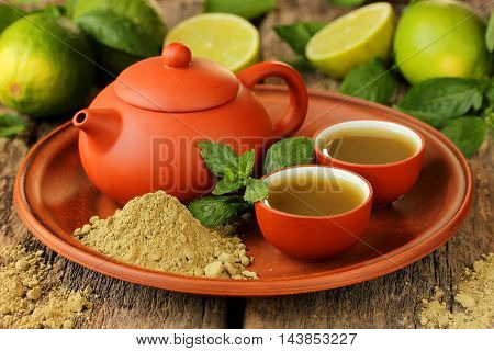 Japanese tea ceremony brewing green tea. Green tea powder matcha, natural Japanese tea