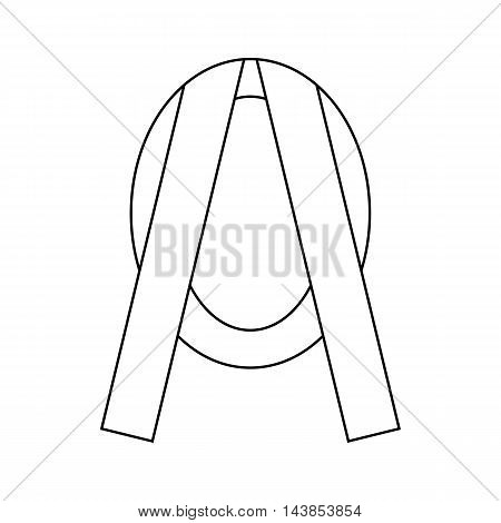 Funeral frame with ribbon icon in outline style isolated on white background