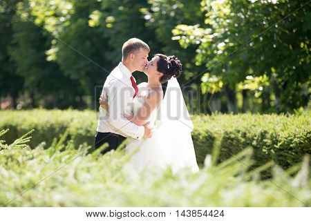 Newlyweds Side View Portrait