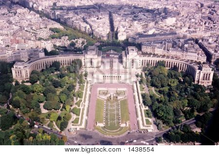Aerial View Trocadero La Defense From Eiffel Tower
