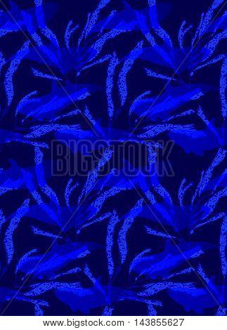 Underwater Bright Blue Fish Overlapping Kelp