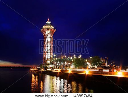 Dobbins Landing And The Bicentenial Tower At Night During The Perry 200 Commemoration September 2013 Erie Pennsylvania USA