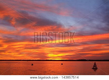 A Paintbrush Sunset Sky Over Presque Isle Bay As Seen From Dobbins Landing During The Perry 200 Commemoration September 2013 Erie Pennsylvania USA poster