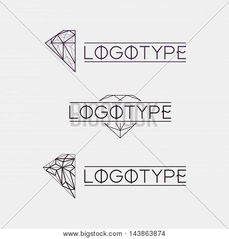 Isolated abstract outlined vector logo set. Gemstones logotypes collection. Polygonal diamond jewelry vector illustration. Vintage modern logos set