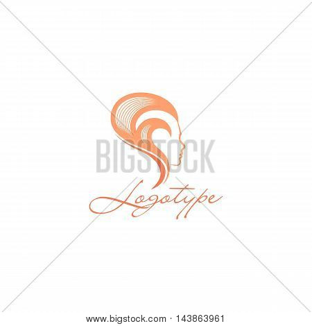 Isolated abstract women head side view vector logo. Pink color hairstyle vector illustration on the white background. Beauty salon logotype