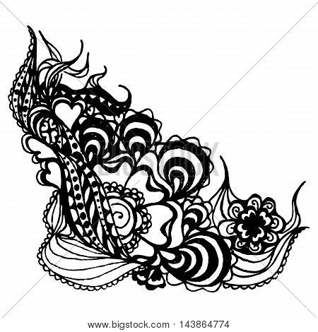 Monochrome abstract doodle curlicue sketched art vector