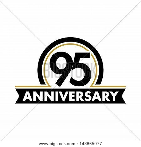 Anniversary vector unusual label. Ninety-fifth anniversary symbol. 95 years birthday abstract logo. The arc in a circle. 95th jubilee