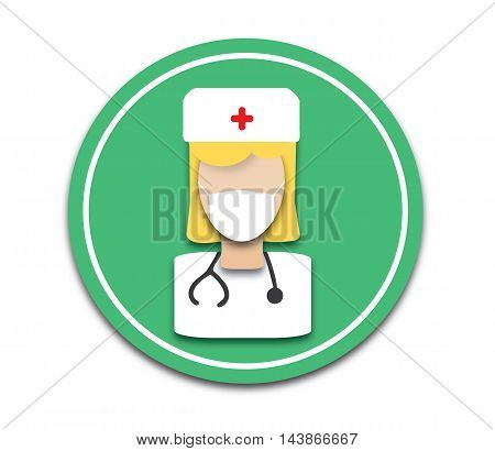 Flat Nurse Icon, Nurse Icon Vector, Flat Nurse Icon Web, Flat Nurse Icon Picture