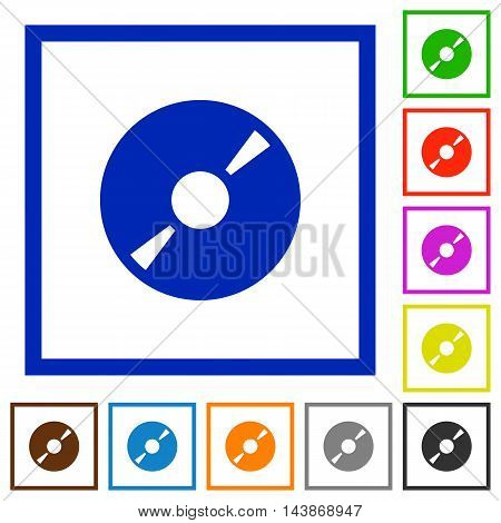 Set of color square framed DVD disk flat icons