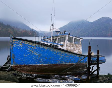 An Old Lobster Boat Beached And Waiting For A New Coat Of Paint Acadia National Park Maine Photo Composite