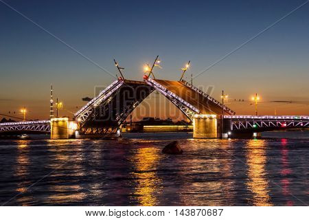 river Neva, movable bridge, St. Petersburg, white night