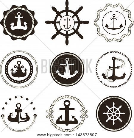 Vintage retro anchor badge and label. Vector sign anchor sea ocean ship, graphic element nautical symbol. Vintage retro marine emblem, label nautical anchor symbol and marine design emblem.