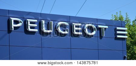 CIRCA AUGUST 2016 - GDANSK: Logo of Peugeot. Peugeot is French car manufacturer. Family business that preceded current Peugeot company was founded in 1810  and manufactured coffee mills and bicycles.